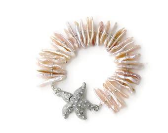 REDUCED 30% Biwa Pearl and Crystal Bracelet - Starfish Pearl Bracelet - Pave Starfish Cuff Bracelet -Pearl Bracelet - Cuff pearl bracelet