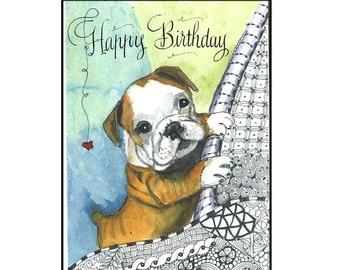 Cute English Bulldog Puppy Birthday Card