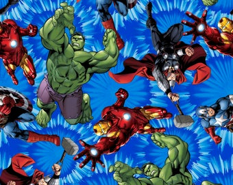 Marvel Comics United Blue cotton woven fabric by the yard