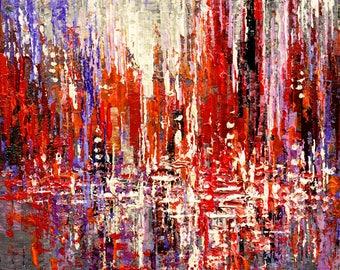 "Original Cityscape Painting Palette Knife Urban Landscape  City Art - 12"" x 12"" - by Tatiana Iliina - Free Shipping"