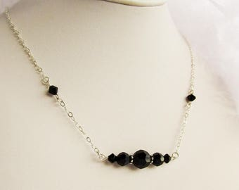 Crystal Necklace Sterling Silver Swarovski Black - Czarina - wedding gift for her