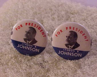 Cuff Links Vintage LBJ for President Campaign Button - Free Shipping to USA