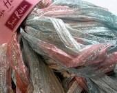 sari ribbon yarn . icing 01 . 1 skein 100g 132yds . louisa harding sari ribbon . light blue white pink peach silver sparkle ribbon art yarn