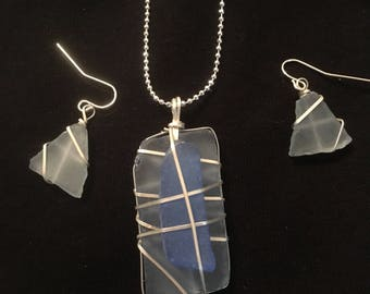 Blue hues seaglass necklace with matching earrings.