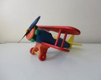 VINTAGE colorful WOOD model biplane - AIRPLANE