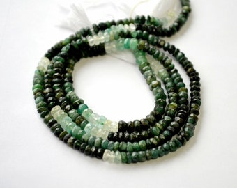 Emerald Gemstone. Precious Gemstone Bead. Shaded Green Emerald. Faceted  Rondelle. Natural Gemstone. 4mm  Your Choice Strand (aem5).
