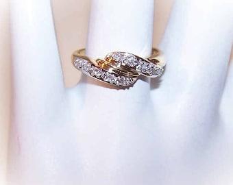 Vintage 14K Gold & .10CT TW Diamond Cross-Over Ring