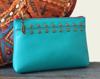 Jade Leather Studded Purse, Coin Purse, Card Holder, Wallet