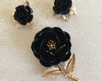 Vintage Signed Crown Trafari Brooch and Clip Earrings Black Enamel with Gold Setting