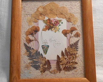"PRESSED FLOWER Collage Antique ""Hearty Greetings"" Embossed Card Ferns Sweet Peas Pansies Phlox, Vintage Lace Border, 10 x 12 Solid Oak Frame"