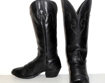 Black Leather Womens Cowboy Boots J Chisholm Brand Size 5.5 M Cowgirl Western