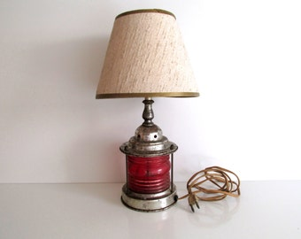Vintage Railroad Lantern Style Lamp Art Deco Period Red Glass Chrome Base