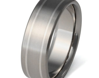 Silver Titanium Wedding Ring - Silver Inlay Band - sv2