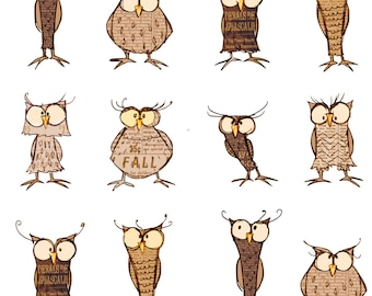 Woodland Owl Fabric - Owl Shapes And Sizes By Mulberry Tree - Wooldand Barn Owl on White Cotton Fabric By The Yard With Spoonflower