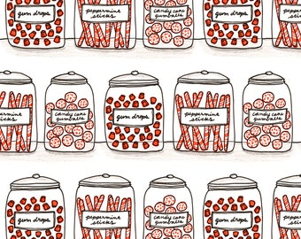 Candy Fabric - Candy Jars By Ellolovey - Candy Jar Novelty Food Cotton Fabric By The Yard With Spoonflower