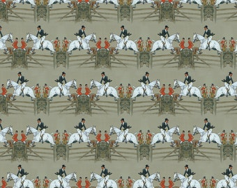 Equestrian Horse Jumping Fabric - Vanity Fair's Hunter Captain By Ragan - Equestrian Cotton Fabric By The Yard With Spoonflower