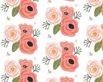 Blush Flower Fabric - Summer Floral Blooms White - Floral - Flowers By Modfox - Summer Flower Cotton Fabric By The Yard With Spoonflower