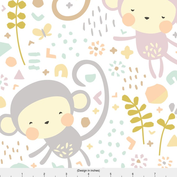 Monkey fabric little monkeys by petite circus pastel for Nursery monkey fabric
