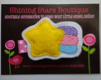 Hair Accessories - Felt Hair Clip - Yellow, Hot Pink, Purple, And Turquoise Blue Shooting Star Boutique Embroidered Hair Clippie For Girls