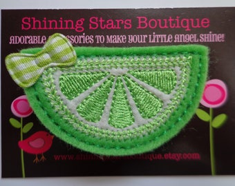 Hair Accessories - Summer Picnic Lime Green Embroidered Half Of A Lime Fruit Slice Felt Hair Clippie