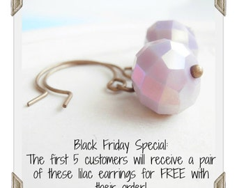 FREE on BLACK FRIDAY! Lavender Crystal Simple Earrings Handmade Jewelry