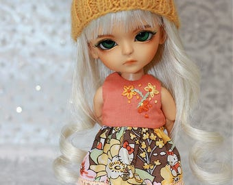 SALE - LATI Yellow PukiFee - Hello Kitty Series - Summer Flowers - DRESS - Orange - Yellow - Mocha