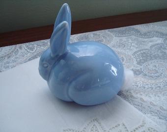 It's A Boy!  Cute Baby Blue Porcelain Bunny Cotton Dispenser, Ceramic, Peter Cottontail, Nursery Decor, Baby Shower Gift, Pale Blue