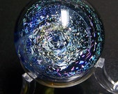 Dense Magenta and Blue Firework Sparkle Spiral Galaxy Glass Marble - Collectable Handmade Space Glass Marble