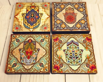 Hamsa hand blocks Moroccan art Set, hamsa Block Set of 4, Hamsa wall art, spanish wall tiles, Moroccan art, hamsa hand, 4x4