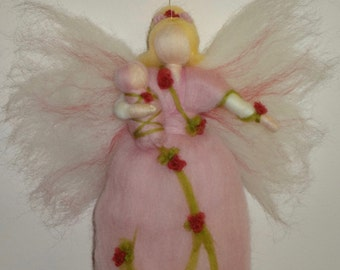 Pink Flower Fairy, Rose Fairy, Spring Maiden, Summer or Spring Fairy, Waldorf doll, Angel, Blessing, Magic Wool, needle felted