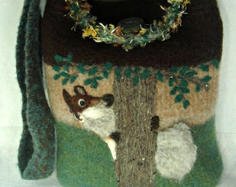 Felted Purse, Felted Tote, Felted Handbag, Squirrel Art, Needle Felt Squirrel, Needle Felt Painting, Fiber Art