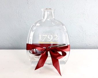 1792 Bourbon Upcycled Melted Bottle Cheese Plate or Wall Hanging by Mitchell Glassworks