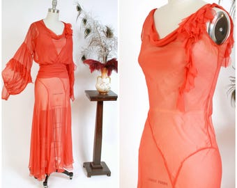 RESERVED ON LAYAWAY Vintage 1930s Dress - Glorious Persimmon Red Sheer Chiffon Bias Cut Gown with Matching Balloon Sleeve Jacket