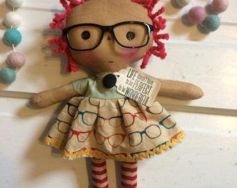 Vintage glasses Raggedy Ann - Raggedy Annie - primitive dolls - Raggedy Ann Doll - Mother's Day gift -