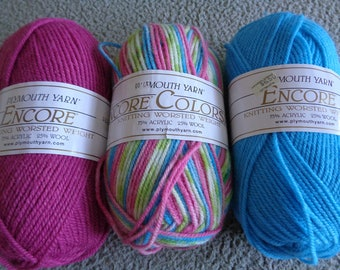 3 Skeins of Encore yarns by Plymouth