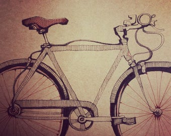SALE. Half Price Original Bicycle Drawing by Andrea Joseph.