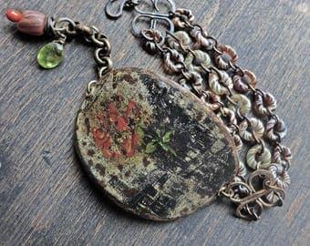 "Salvaged tin and lampwork artisan bracelet- ""Pentimento"""