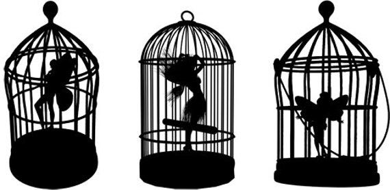 fairies in bird cages fairy silhouettes clipart JPG PNG clipart Digital graphics Image Download digi stamp digital stamp printable art
