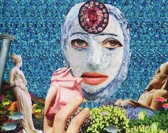 Magic Eye II / Collage Print /  Illusion / Collage Art (sizes a4 - a3)