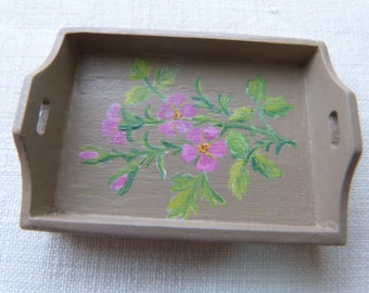 12th scale dollhouse handpainted miniature tray,  french roses  in pink with delicate green leaves, romantic style
