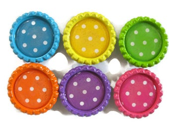 Polka Dot Themed Bottle Cap Magnets Set of 6