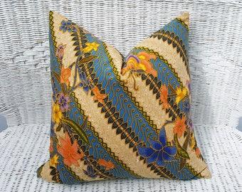 Colorful Bohemian Pillow Covers, Blue Bohemian Floor Pillows, Gypsy Cushions, Indian Sari, Ethnic Boho Pillow, PillowThrowDecor 20x20