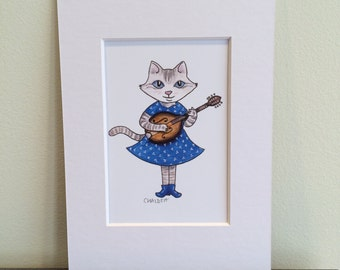 Wall art. Kitten plays mandolin. 3x5 matted print of a watercolor illustration.