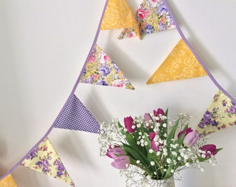 Purple and yellow Bunting - Fabric Garland Banner, with rose florals, Photo Prop, Wedding or room Decoration