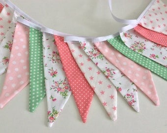 New Pink and pale green Bunting / Flag / Garland - floral mix bunting 14 flags 8ft flags with ties
