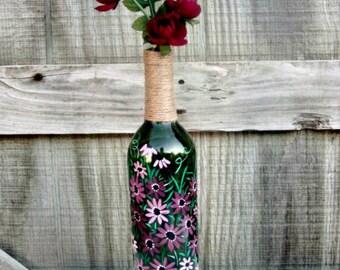 Wine Bottle Flower Vase, Hand Painted Glass Bottle, Mauve Flowers, Glass Vase