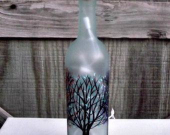 Wine Bottle Light, Night Light, Hand Painted Wine Bottle, Trees with Colorful Leaves, Frosted Bottle