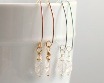Hand Carved Crystal Quartz Dangle Earrings, Icy Clear Leaf Shapes, Gold or Silver Long Earwire, Original Artisan Winter Leaves, Gift for Her