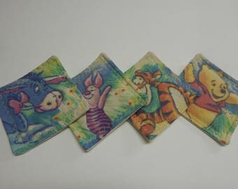 Set of 4 Fabric Drink Coasters Disney Winnie the Pooh