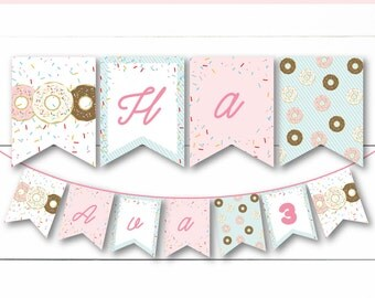 Instant Download - Editable Custom Colorful Sprinkle Donut Breakfast Party Or Baby Shower Banner